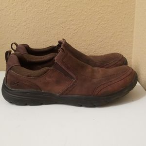 Mens Skechers Relaxed Fit Brown Leather Shoes